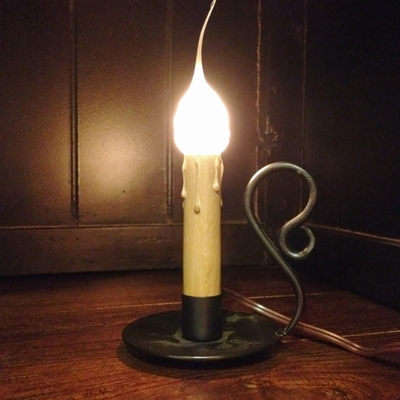 "Window Candle - ""Electric Vintage Candleholder Candle Light - 4 inch Wrought Iron"""