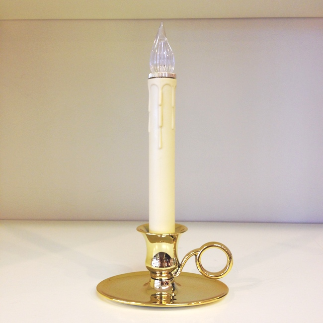 "Window Candle - ""Sensor Battery Operated Williamsburg Candle - Brass"""