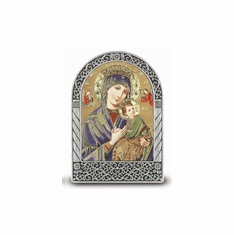 """2.75"""" X 2"""" STANDING METAL PLAQUE - OUR LADY OF PERPETUAL HELP"""