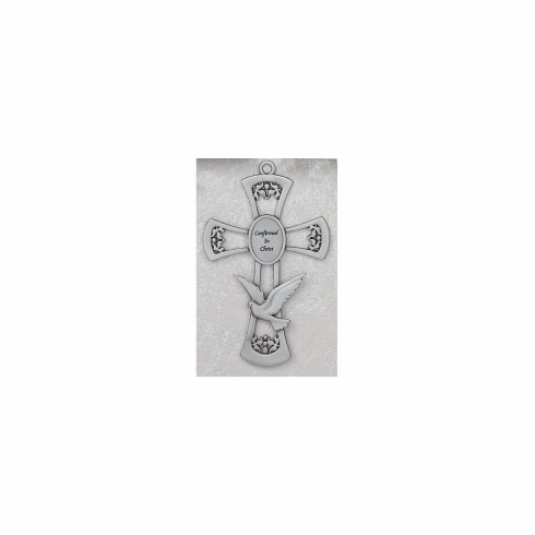 "6"" PEWTER CONFIRMATION CROSS W/ DOVE"