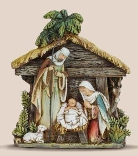 "7.75"" PLAQUE - HOLY FAMILY IN STABLE"