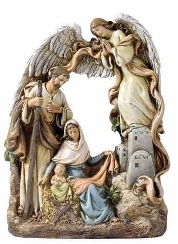"8.25"" PLAQUE - HOLY FAMILY WITH ANGEL"