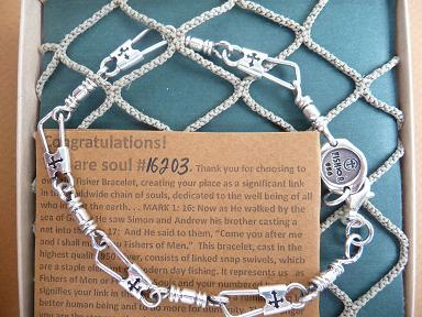 ACTS BRACELET (FISHERMAN'S BRACELET) - .95 STERLING SILVER WITH CUT-OUT CROSS