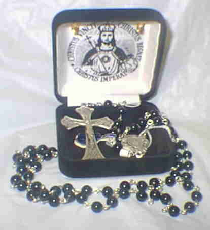 BLACK ONYX ROSARY - STERLING SILVER