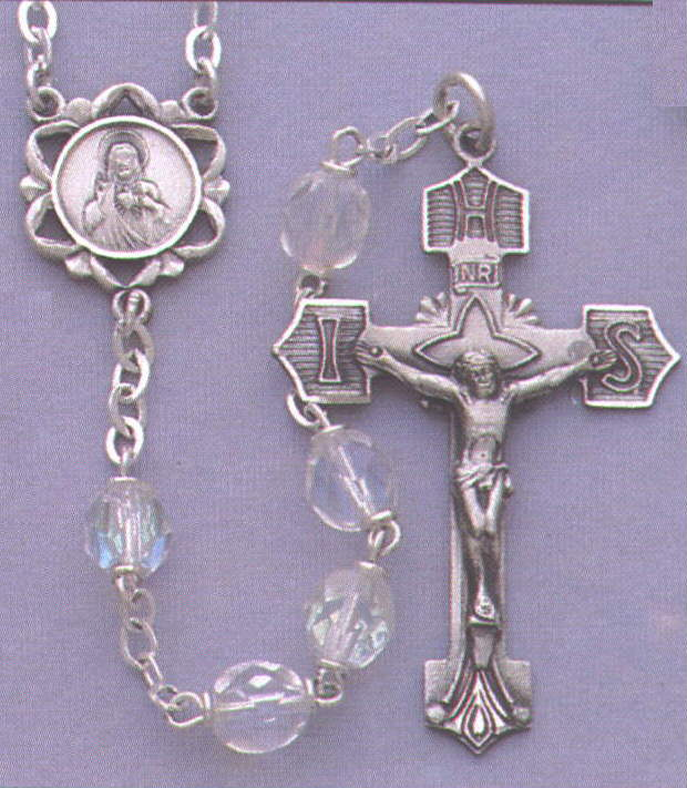 CRYSTAL/STERLING ROSARY