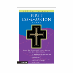 FIRST COMMUNION NEW TESTAMENT-GOOD NEWS TRANSLATION-BLACK IMITATION LEATHER WITH BLACK RIBBON MARKER