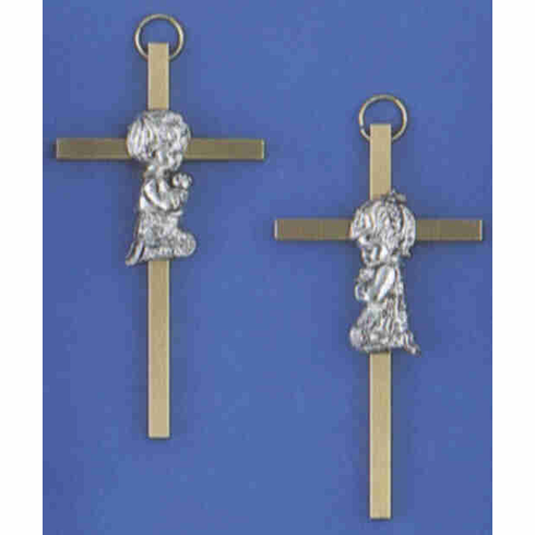 KNEELING CHILD CROSS - BRASS/PEWTER