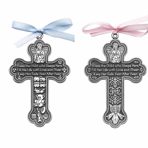 """PEWTER """"BLESS THE CHILD"""" CROSS"""