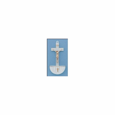 WHITE CRUCIFIX HOLY WATER FONT