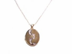 14k Gold Footprints Locket with Chain