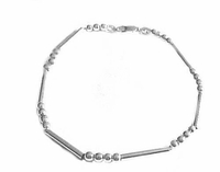 8.5 Inch Bracelet Sterling Silver Beads and Bars