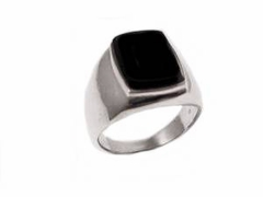 Black Onyx Men's Sterling Silver Plus Size Ring to Size 17