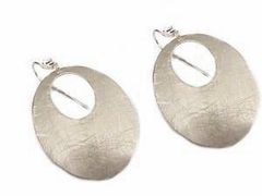 Costume Jewelry Earrings Oval Silver Hoops
