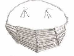 Costume Jewelry-Plus Size Tube Necklace and Earrings