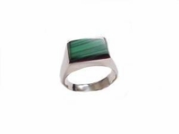 Malachite Men's Sterling Silver Plus Size Ring to Size 17