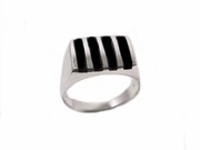 Men's Plus Size Ring Black Onyx Sterling Silver to Size 17