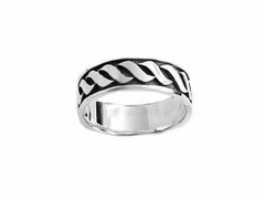 Sterling Silver Ring Oxidized Wave Size 10-12