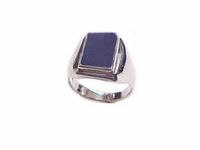 Men's Plus Size Ring Blue Lapis Sterling Silver Ring