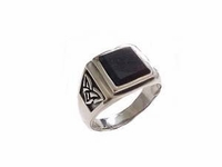 Men's Plus Size Ring Sterling Silver Black Onyx Celtic
