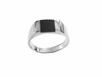 Plus Size Ring Men's Sterling Silver Black Onyx to Size 17