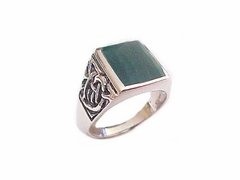 Men's Plus Size Ring Sterling Silver Celtic Malachite