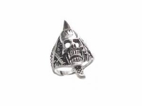 Men's Plus Size Ring Sterling Silver Biker Skull Ring