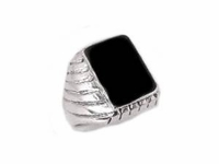 Men's Ribbed Black Onyx -Sterling Plus Size Ring