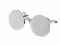 Men's Sterling Silver Cuff Links Round