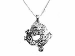 Men's Sterling Silver Dragon Necklace Style 1