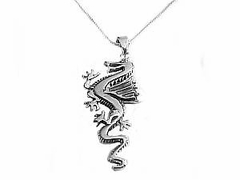 Men's Sterling Silver Dragon Necklace Style 2
