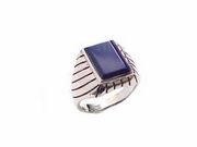 Men's Plus Size Ring Sterling Silver Blue Lapis To Size 17