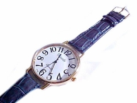 Men's Watch Brown-Blue Leather Strap to 9 Inch