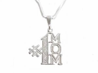 Mom Sterling Silver Necklace Pendant with Chain
