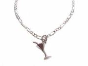 Plus Size Silver Ankle Bracelet Martini Glass