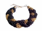 Plus Size Bracelet Black Bead Gold Twist 8 Inch to 10 Inch