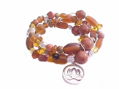 Plus Size Bracelet Brown Spiral with Charm Style 3