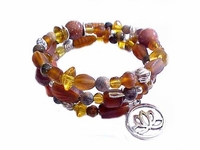 Plus Size Bracelet Brown Spiral with Charm Style 4