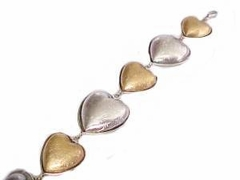 """Plus Size Bracelet Fashion Hearts Gold and Silver 8"""" to 9"""""""