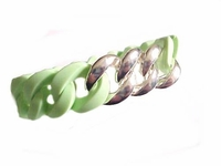 Plus Size Bracelet Lime Silicone Silver Links
