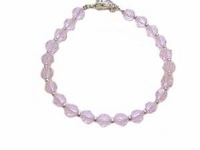 Plus Size Bracelet Pink Beads-7,8 or 9 Inch