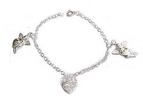 Plus size bracelet sterling silver cherub charms for Plus size jewelry bracelets