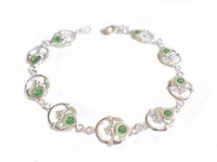 Plus Size Bracelet Sterling Silver Claddagh Green