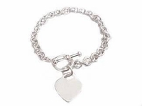Plus Size Bracelet Sterling Silver Heart Tag Small Link