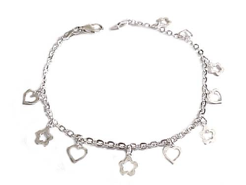 Plus size bracelet sterling silver open heart charms for Plus size jewelry bracelets