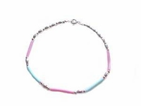 """Plus Size Bracelet Sterling Silver Pink and Blue 10""""-11"""""""