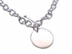 Plus Size Bracelet Sterling Silver Round Disk 8 to 11""