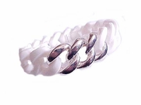 Plus Size Bracelet White Silicone with Silver Links