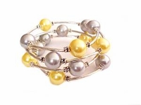 Plus Size Bracelet Women's Yellow and Silver Spiral