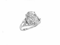 Plus Size Engagement Ring Silver Large Cz