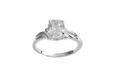 Plus Size Engagement Ring Serling Silver Oval Cz